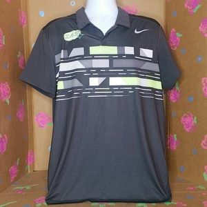 Nike Dry Fit Tennis Polo Shirt Dark Gray Size XL